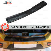 Para Renault Sandero/Stepway II 2014-Placa de protección en el alféizar del parachoques trasero decoración de coches accesorios de panel de raspado