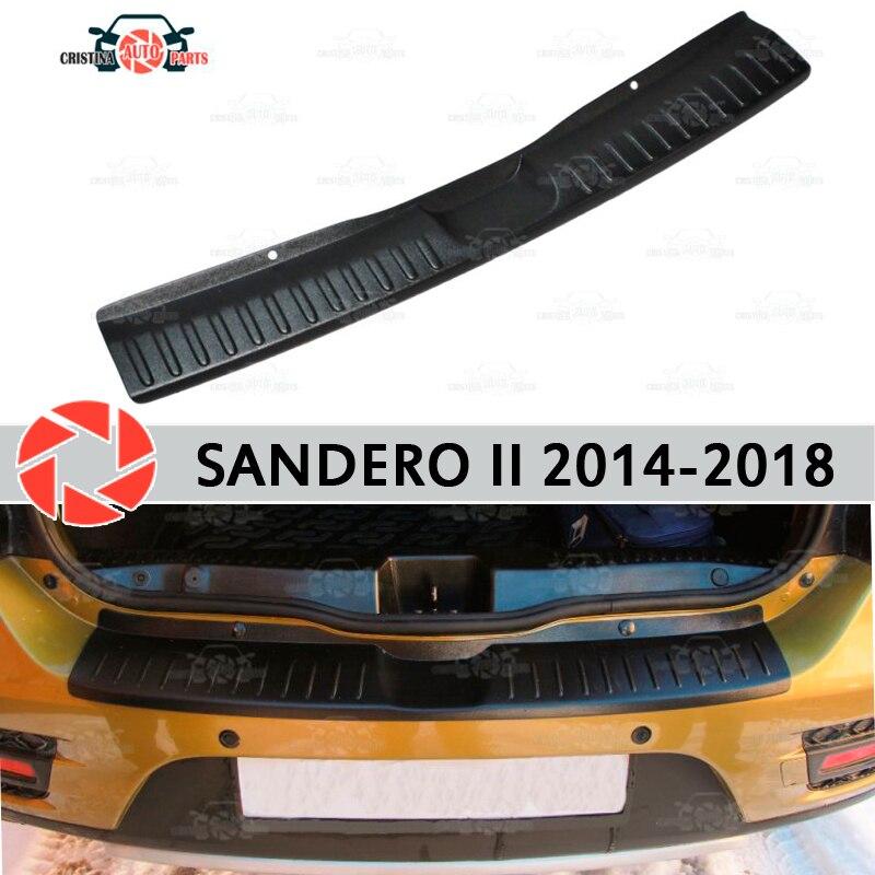 Para Renault Sandero/Stepway II 2014-guarda bumper decoração estilo do carro soleira chinelo placa de proteção na parte traseira do painel acessórios