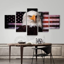 5 Panel Wall Art Picture Print Bald Eagle American Flag Poster Canvas Painting Home Decoration For Living Room Unframed
