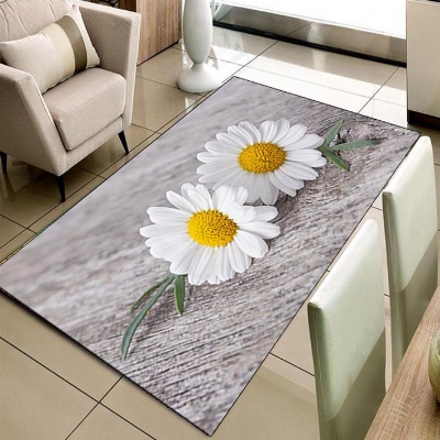 Else Gray Floor Big Yellow White Daisy Flowers 3d Print Non Slip Microfiber Living Room Decorative Modern Washable Area Rug Mat