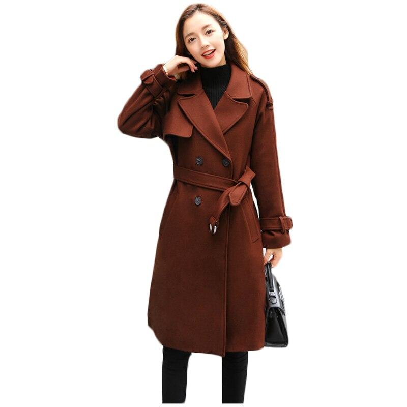 2018 Herbst Winter Neue Temperament Schlanke Taille Gürtel Frauen Woolen Mantel Einfarbig Langarm Zweireiher Wolle Mantel Is604 Ausgereifte Technologien Heimtextilien Bettwäsche