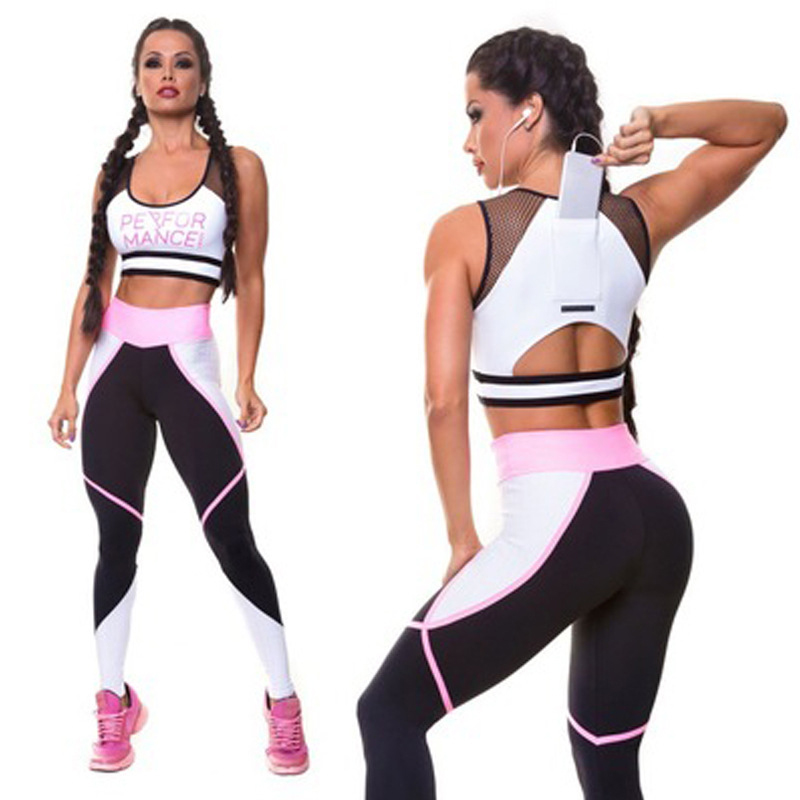 Fitness Yoga Suit Women 2 Piece Set Fitness Clothing Sportswear High Waist Elastic Leggings and Mesh