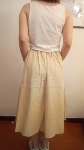 Women Maxi White Cotton Skirt Girl Casual Midi Elastic High Waist Plus Size Flare A Line Pure Color Pocket Summer Skirts Female photo review