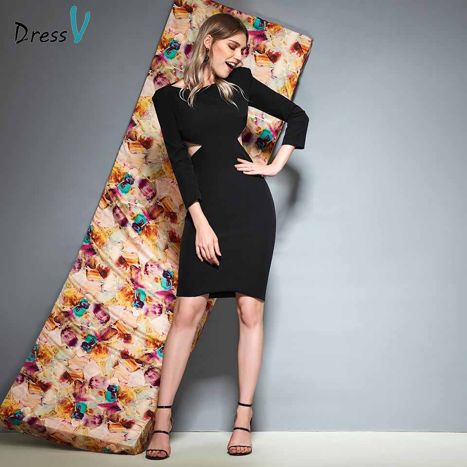 Dressv black scoop neck long sleeves   cocktail     dress   sheath wedding party evening formal   dress     cocktail     dresses   customade