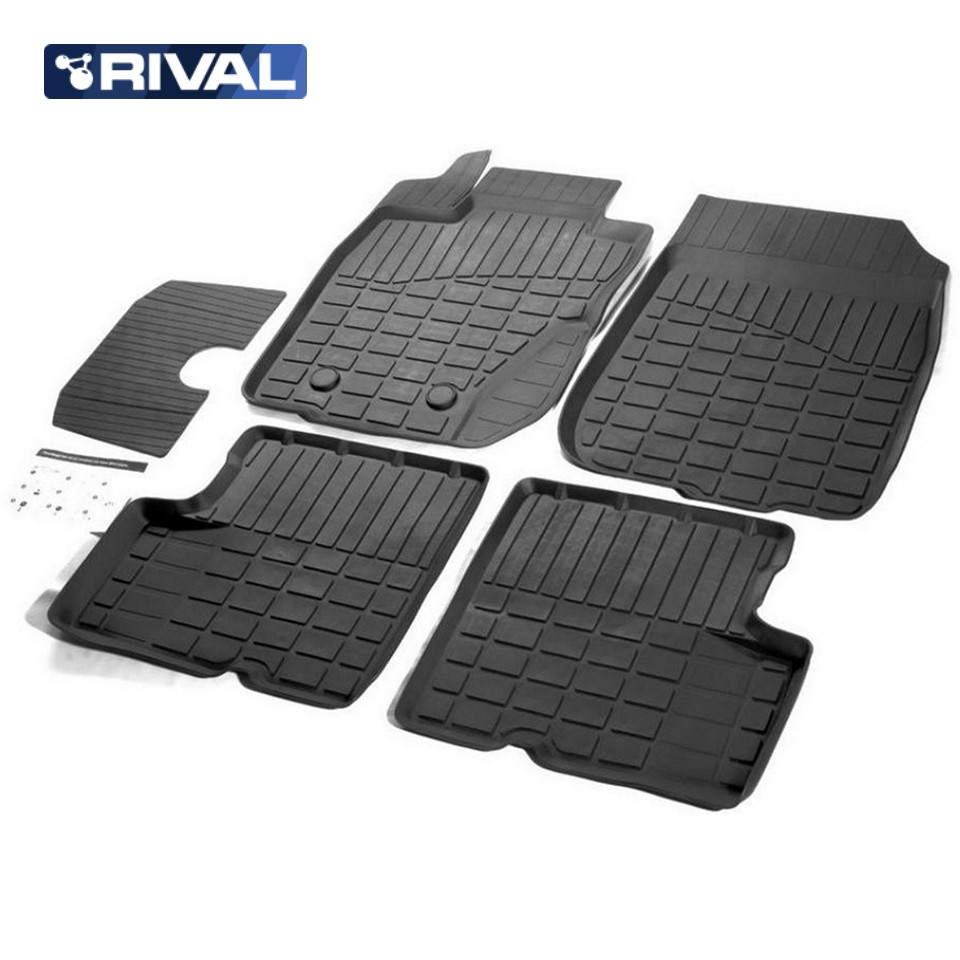 For Nissan Terrano 4WD 2014 2019 rubber floor mats into saloon 5 pcs set Rival 64701002