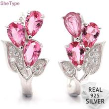 SheType 5.0 Pink Tourmaline Flower White CZ Ladies 925 Solid Sterling Silver Earrings 20x11mm