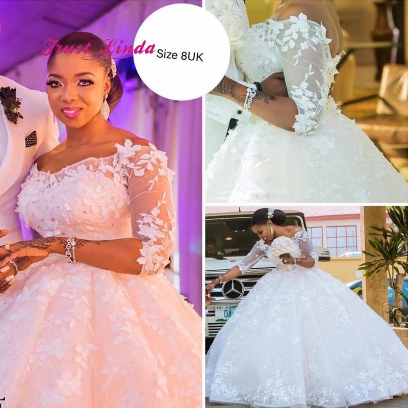 Half Sleeves Brides Dresses For Weddings Ball Gown V Neck Brides Mother Dresses For Weddings African Wedding Dress Mother