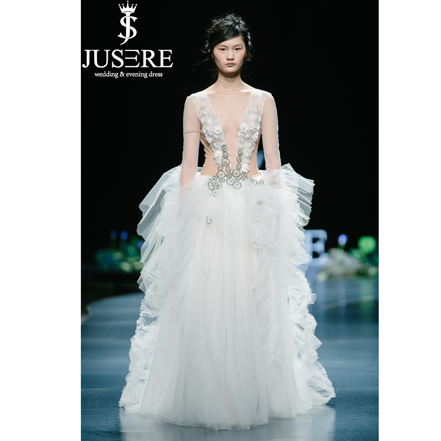 JUSERE 2019 SS FASHION SHOW High end Ivory Wedding Dress Hand Beaded Sweep Train Bridal Gowns Robe De Mariage