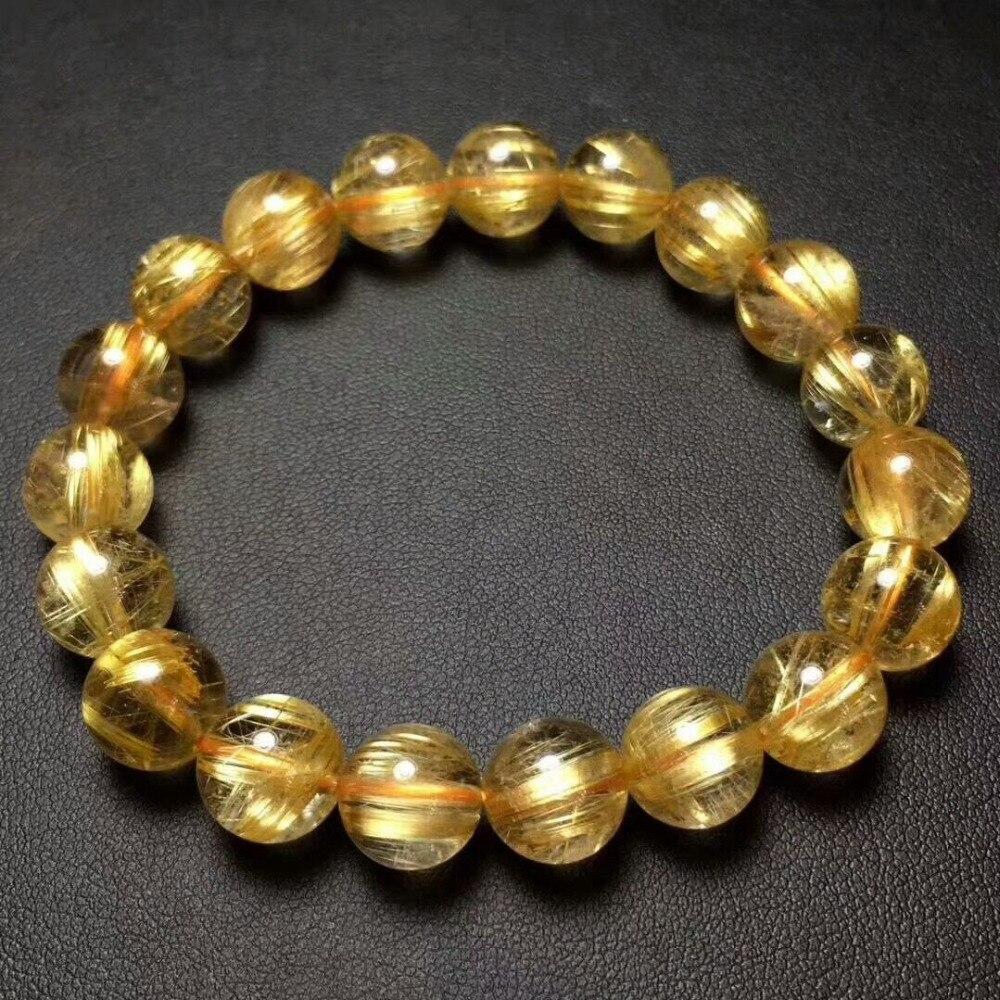 Bracelet en cristal de perles rutilées titane or naturel AAAA 10.8mm