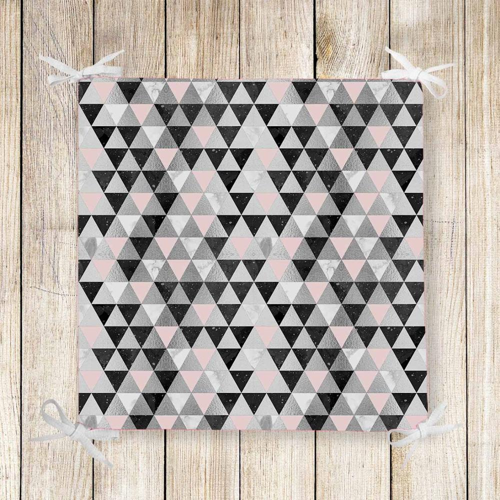 Else Gray Pink Black Triangles Nordec 3d Print Chair Pad Seat Cushion Soft Memory Foam Full Lenght Ties Non Slip Washable Zipper
