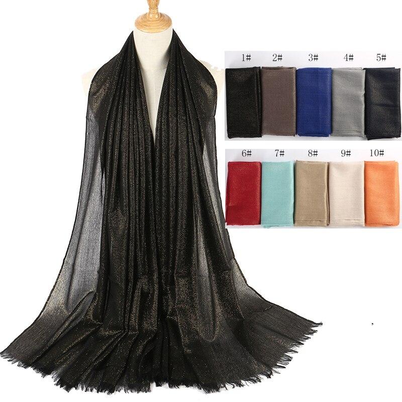 2f9552cc898f Gros 10 pcs lot Femmes Coton Hijab Écharpe Bling D or Fil De Soie Oversize  Longue Musulman Hijabs Foulards Wraps Franges dans Foulards de Mode Femme  et ...