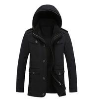 2017 Men Winter Outwear Padded Fleece Overcoat Zipper Coat Plus Size Outdoors Thick Warm Hooded Velvet Jackets Casual Parka 5XL