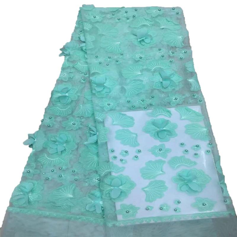 Menthe vert 3d fleur Tulle tissu de mariée perlée garniture dentelle française broderie nigérian dentelle tissus pour X752-2 de mariée