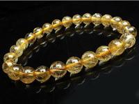 7mm Natural Brazil Golden Hair Quartz Rutilated Beads Wealth Bracelet AAA free shipping