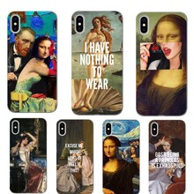 Mona Lisa funny Spoof Art Cases For iPhone X XR XS MAX Van gogh Starry Soft Phone Cover 5 11 11PRO SE 6 6S Plus