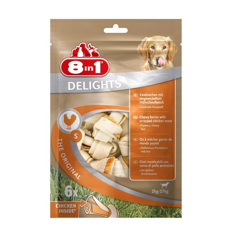 Dogs treats 8in1 DELIGHTS S chicken bones for small and medium dogs (11cm) цена