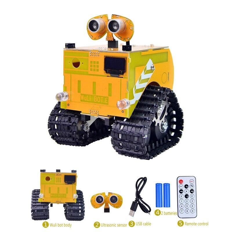 Xiao R Wuli Bot Scratch STEAM Programming RC Robot APP Control Ard uino UNO R3 for Kids Students paul robot manipulators mathematics programming