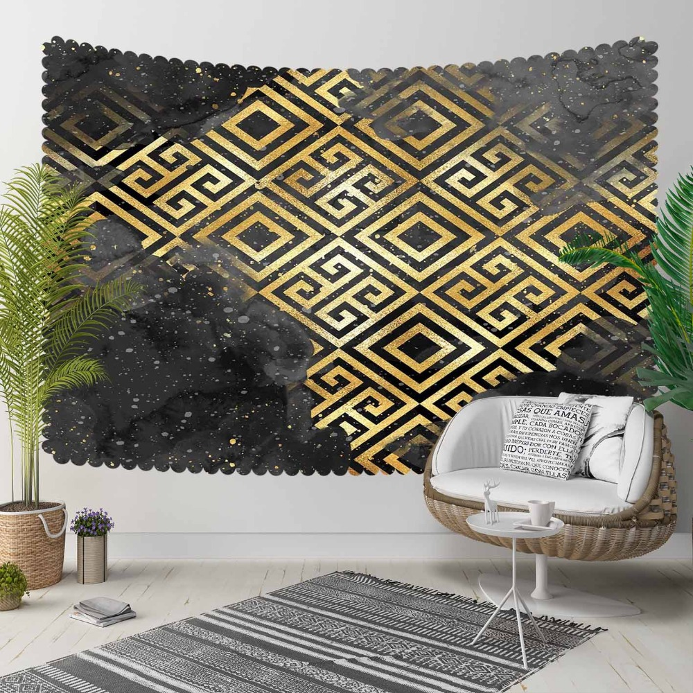 Else Black Gray Clouds Yellow Ikat Nordec Locked  3D Print Decorative Hippi Bohemian Wall Hanging Landscape Tapestry Wall Art