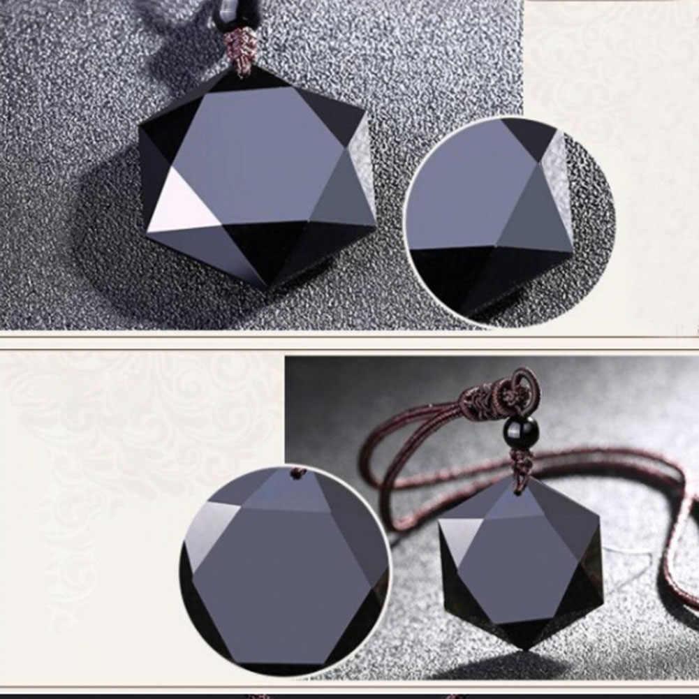 Preto obsidian pedra natural pingente colares para mulheres e homens cubic hexagrama suéter colar amuletos e talismãs jóias