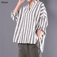 S-5XL Women Blouses Cotton Striped Tops Oversized Long Sleeve V Neck Plus Size Femme Retro Summer Shirts Blusa Spring Casual Top