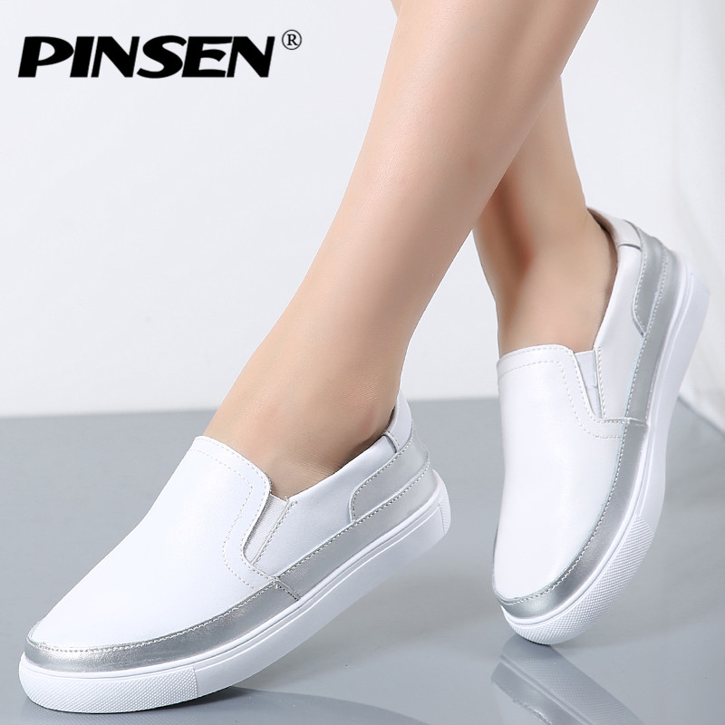 PINSEN 2017 Autumn Women Casual Flats Shoes Female Slip-on Creepers Platform Shoes Woman Genuine Leather White Loafers Shoes lanshulan bling glitters slippers 2017 summer flip flops shoes woman creepers platform slip on flats casual wedges gold