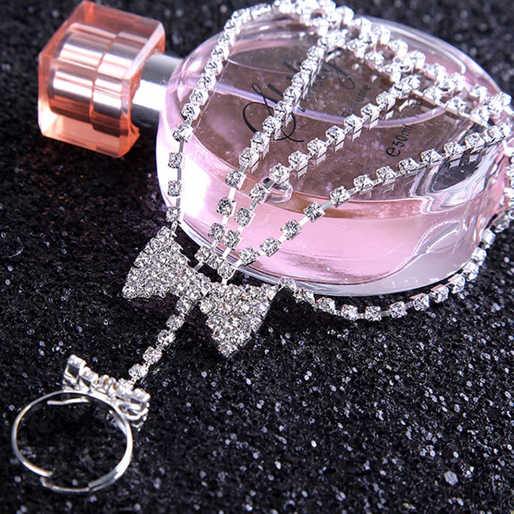 Gorgeous Rhinestone Hollow Rhinestone Bowknot Crystal Bangles Women Bride Bowknot Bracelets