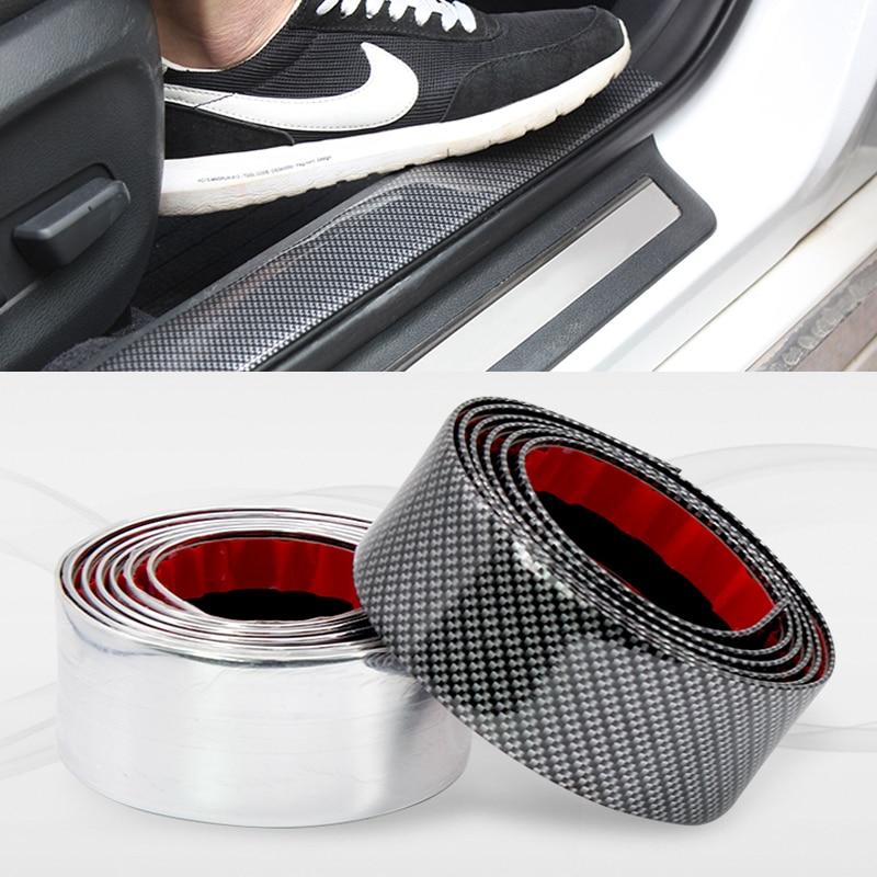 Car Door Stickers Auto Door Sill Scuff cover Protector Pedal Car Accessories  Moulding Strip Trim Front Bumper Carbon Fiber Type