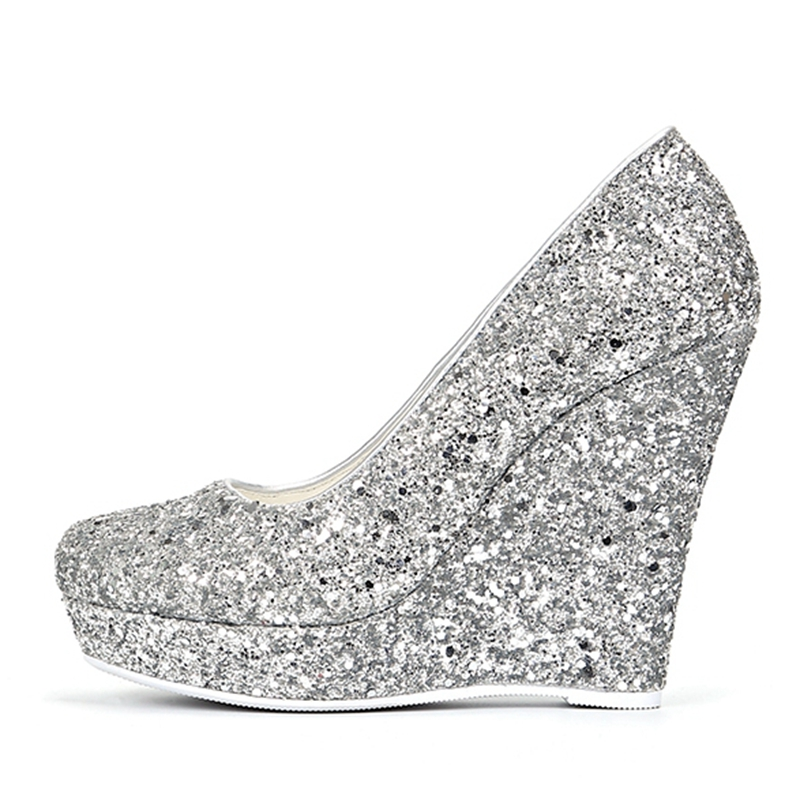 ORCHALISA Brand Women High Heels Wedges Shoes Prom Wedding Shoes Lady Bling  Platforms Silver Glitter Rhinestone Bridal ShoesJ013-in Women s Pumps from  Shoes ... 8eb8d6dc3493