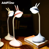 Cute Rabbit LED Touch Control Book Light Rechargeable Flexible Reading Book Lamp Children Student Eye Protection Table Desk Lamp
