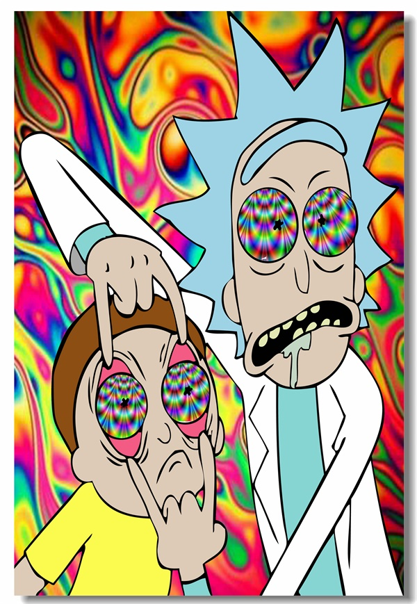 Custom Canvas Wall Murals Rick And Morty Poster Rick And Morty Wall Sticker Office Decorations Kids Bedroom Wall Papers #0138#