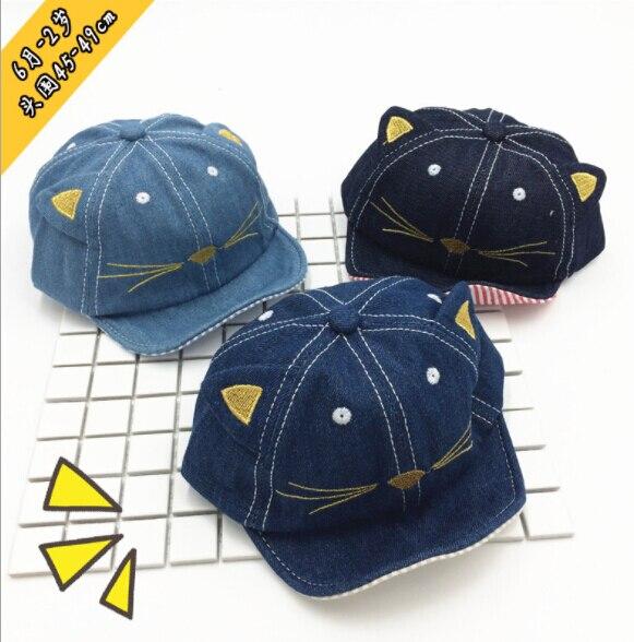 1 шт. унисекс Бейсбол Кепки деним Дети кошачьи уши Защита от солнца ковбойская шляпа милые Кепки для мальчика Девочка шапка Cat Бейсбол кепки