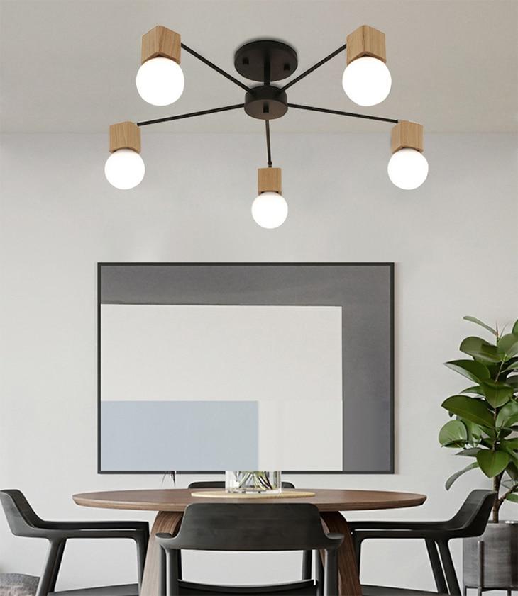 UTB8QdLcCODEXKJk43Oqq6Az3XXaF Nordic iron wood ceiling Light Modern home Living Room Bedroom aisle LED Ceiling Lamp Luminaire Lampara Techo