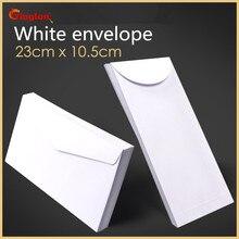 Miễn phí vận chuyển 100 cái/lốc Bao thư trắng đơn giản sạch trống bao da trang trí đơn giản cưới lời mời bao thư