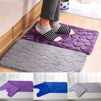 2pcs Set PVC Mesh Thicken Blended Floor Bath Mats Set Non Slip Bathroom Toliet Rugs 40