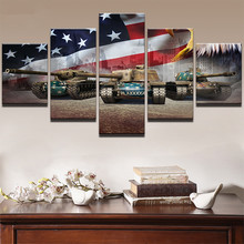 Wall Art HD Prints Pictures Home Decor Living Room 5 Pieces American Flag Poster Paintings Modular On Canvas Framework