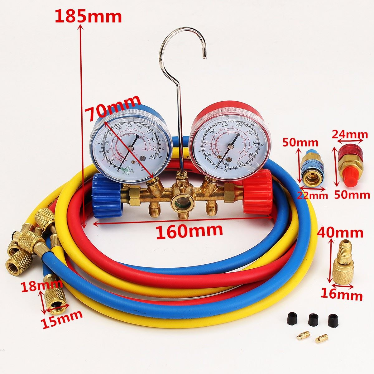 HVAC A/C Refrigeration Kit Manifold Gauge Set R22 R12 R134A Auto Refrigerant H/L Durable Quality fixmee 2pcs car auto freon r134a h l quick coupler adapters air conditioning refrigerant adjustable a c manifold gauge set