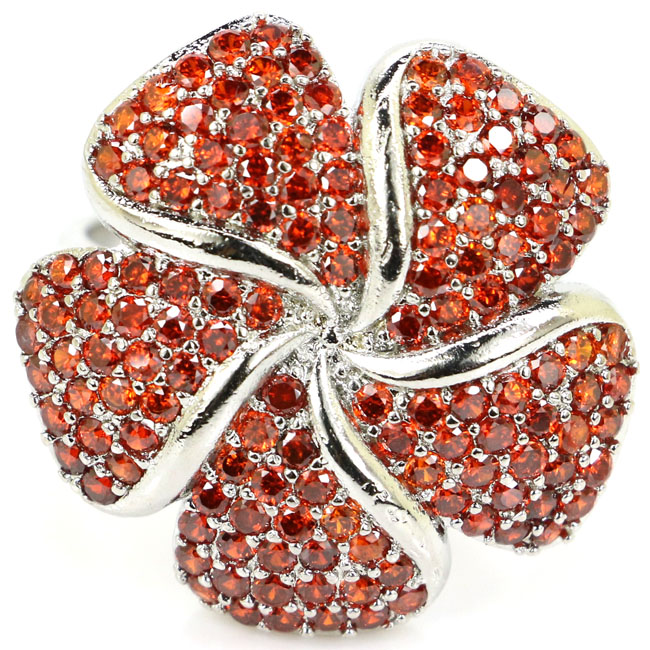 Fantastic Flower Shape Orange Spessartine Garnet Ladies Wedding Silver Ring 23x23mmFantastic Flower Shape Orange Spessartine Garnet Ladies Wedding Silver Ring 23x23mm