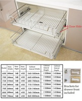 75 80 90CM Stainless Steel 2 Tiers Kitchen Cabinet Drawer Wire Basket Pull Out Kitchenware Storage Soft Close Slide