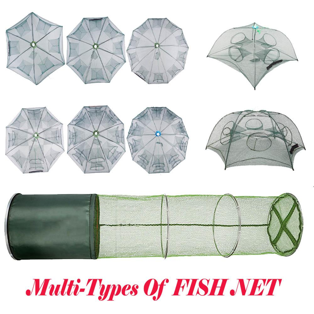 Portable Automatic Folding Umbrella Type Fishing Net Shrimp Cage Crab Fish Trap Cast Net 6 8 10 12 holes  сеть рыболовная-in Fishing Net from Sports & Entertainment