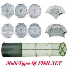Red de pesca plegable automática portátil, tipo paraguas, jaula de camarones, trampa para peces fundida, Red de 6, 8, 10 y 12 agujeros