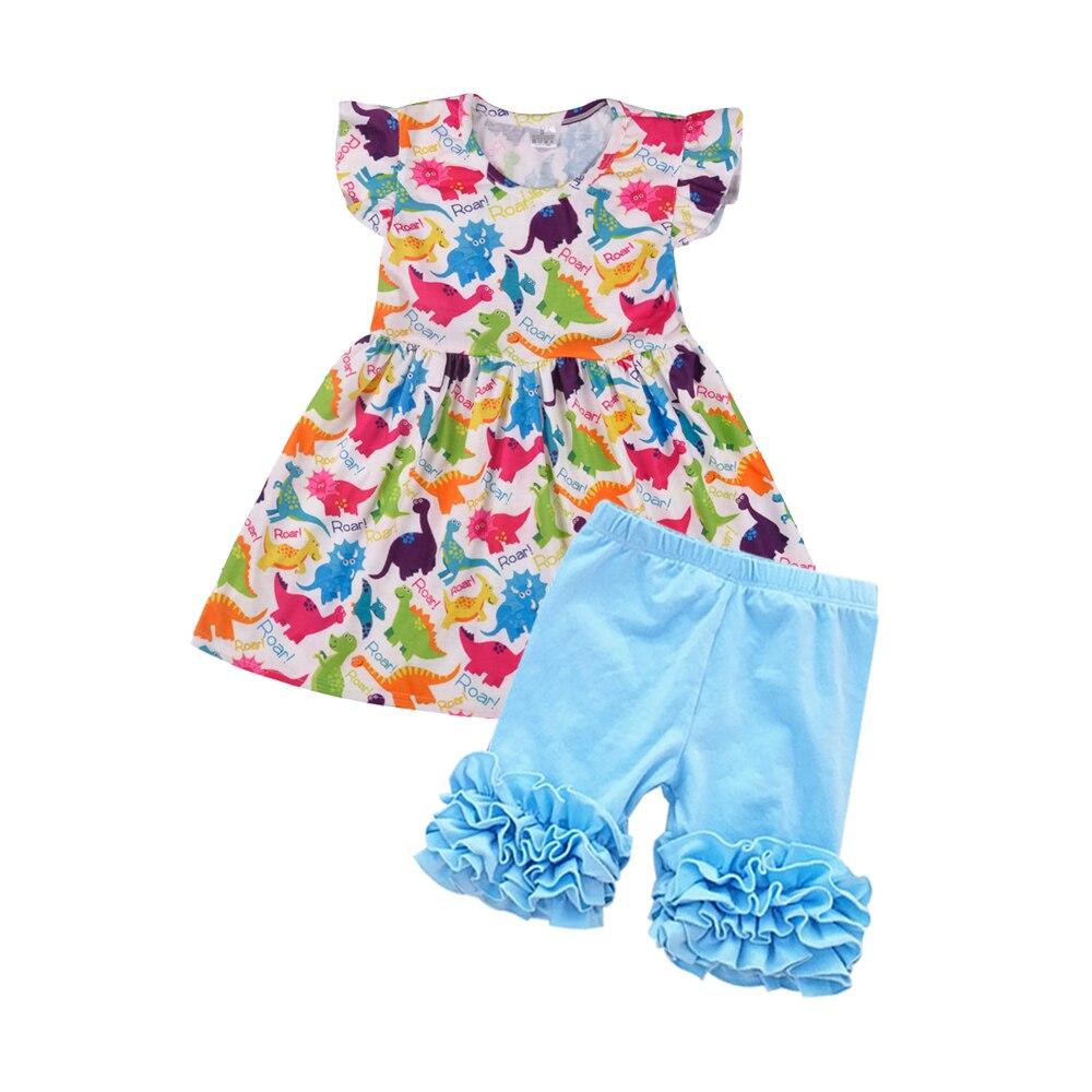 Preço de atacado Novas Roupas de Verão Crianças Flutter Sleeve Shorts Conjuntos Meninas Boutique Roupas de Algodão Dos Desenhos Animados Top Plissado Sólida