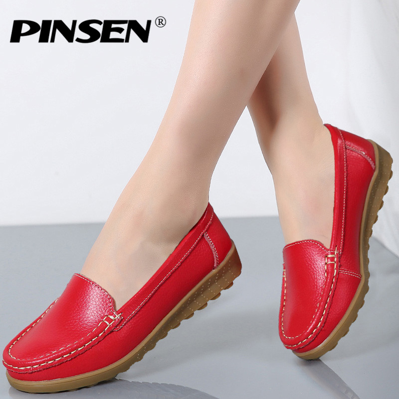PINSEN 2017 Women Genuine Leather Winter Flats Shoes Slip on Women Flats Comfort Loafers Shoes Woman moccasins Fashion fur shoes jingkubu 2017 autumn winter women ballet flats simple sewing warm fur comfort cotton shoes woman loafers slip on size 35 40 w329