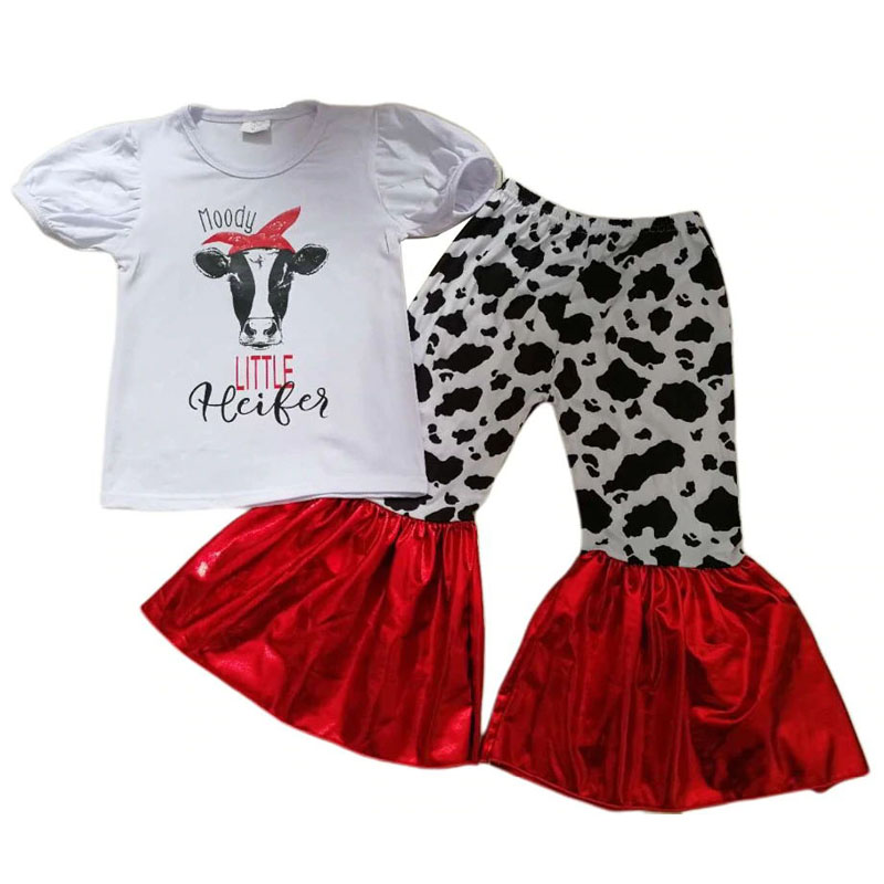 Neue Ankunft Moody Kuh Mädchen Outfits Mode Sommer T Shirt + Persönlichkeit Glocke-böden Hosen 2 Stück Sets Kinder Kleidung Gxj