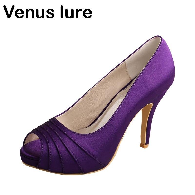 Venus lure Bridal Dress Purple Satin Heels Platform Ladies Bridesmaid Shoes Peep Toe Dropship