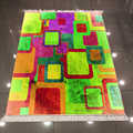 Autre vert brun Orange jaune Cubes boîtes vintage 3d motif imprimé antidérapant dos lavable décoratif Kilim tapis tapis
