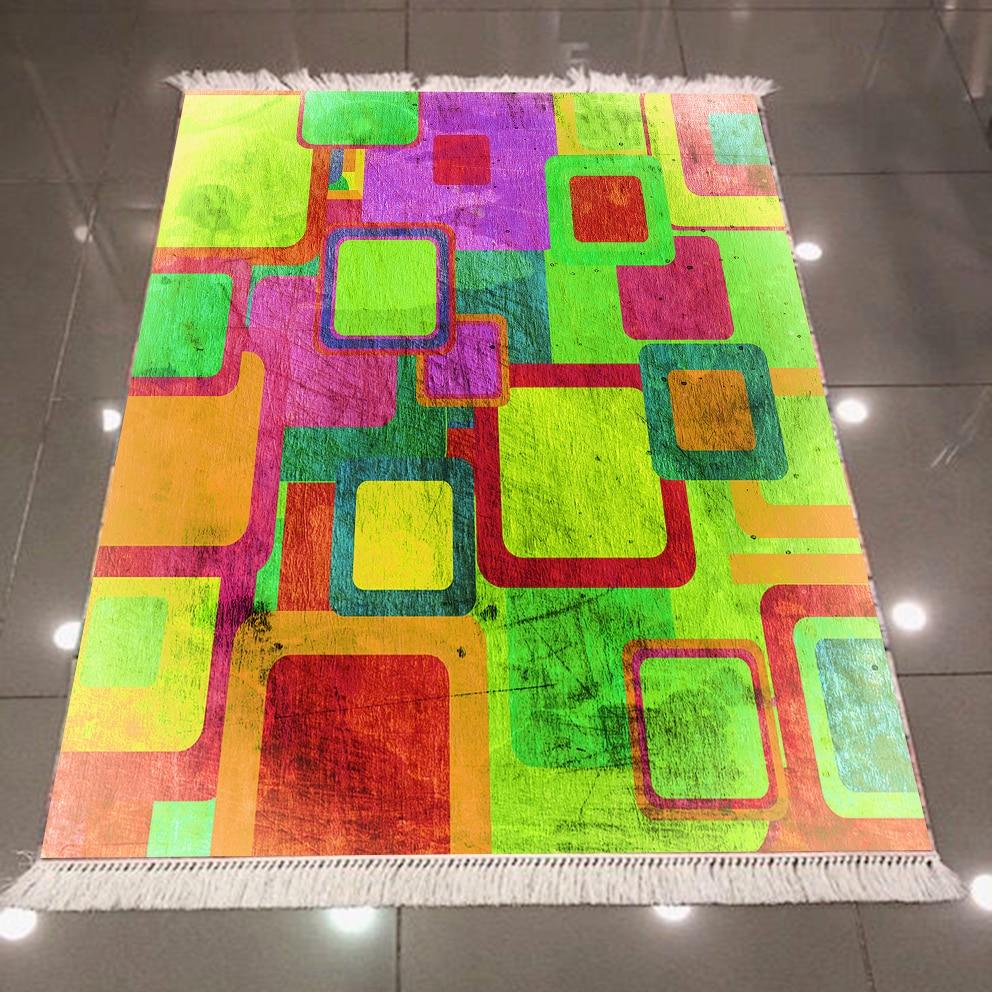 Else Green Brown Orange Yellow Cubes Boxes Vintages 3d Pattern Print Anti Slip Back Washable Decorative Kilim Area Rug Carpet