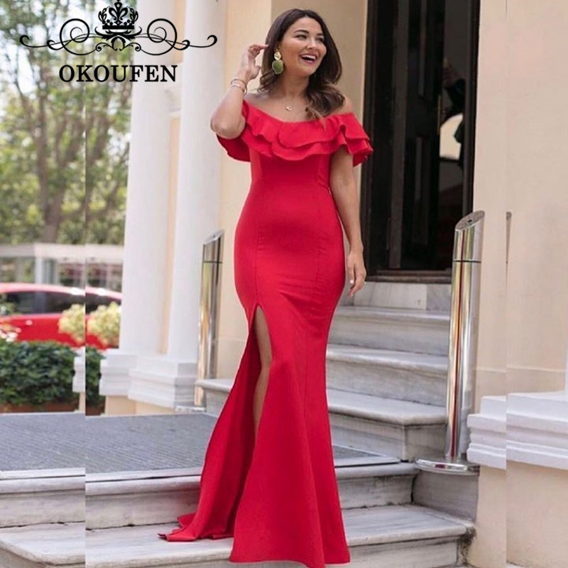 OKOUFEN Red Long Mermaid   Bridesmaid     Dresses   Ruffles Off Shoulder 2018 Sexy Side Split Maid Of Honor   Dress   Party For Women