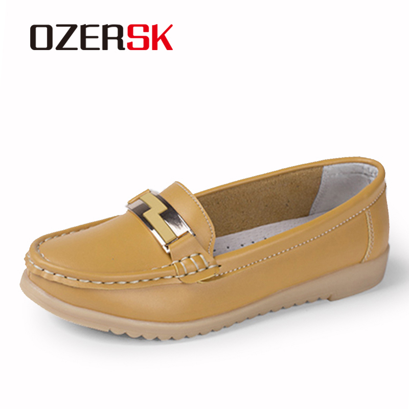OZERSK Fashion Casual Shoes Slip On Woman Loafers Genuine Leather Female Flats Shoes Crystal Ladies Boat