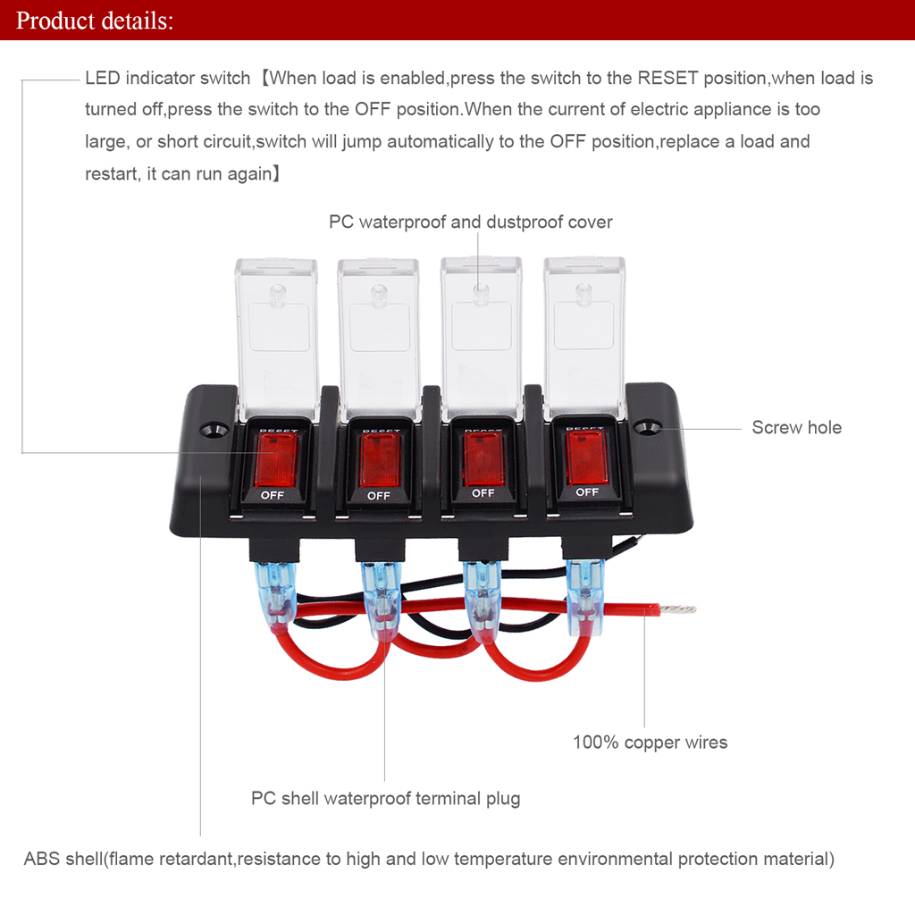 Waterproof Car and Boat 4 Gang12V Panel Red LED Switch Circuit Breaker With Fuse