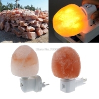 15W Rotatable Oval Himalayan Salt Lamp Air Purifier Crystal Salt Rock Bedside Night Light